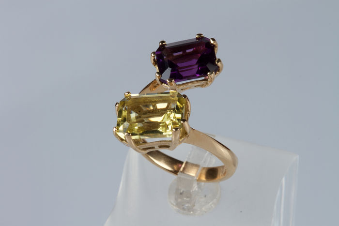 Contrarié ring, 18 kt rose gold with quartz and amethyst – size 12