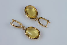 Earrings in 18 kt yellow gold, with quartz - 4 cm