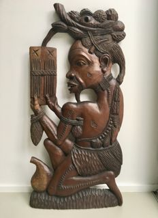 Large hardwood sculpture or wall relief