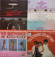 Set of 8 vintage albums by Diana Ross & The Supremes, mostly on Motown, VG+/VG+