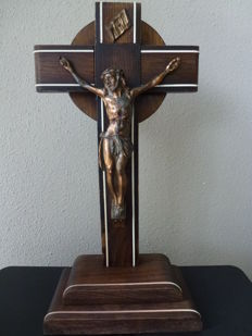 Wooden crucifixes with a bronze corpus - first half of 20 century
