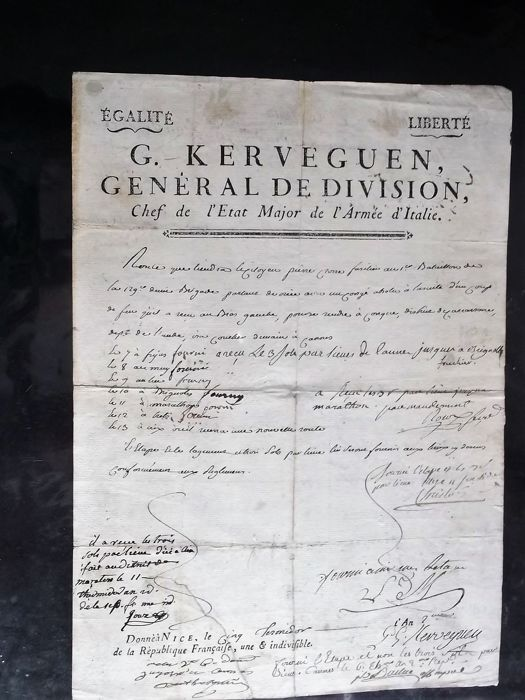 autograph letter signed by General KERVEGUEN, Chief of staff of the army of Italy of Napoleon Bonaparte, dated from Nice in 1794