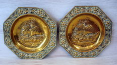 Two antique brass signs (plates) with image of a ship.