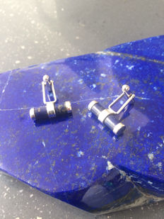 925 Silver cufflinks with Lapis Lazuli Cabochon