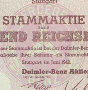 daimler benz ag aktie share 1000 reichsmark stuttgart 1942 stock certificate of famous. Black Bedroom Furniture Sets. Home Design Ideas