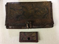 Cris Agterberg (1883-1948) - Batik leather handbag and wallet with geometric decor