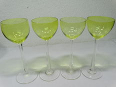 Val St. Lambert - 4 crystal wine glasses, Belgium, early 20th century.