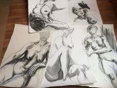 Original; Lot with 4 drawings of female nudes by Paul Groenenberg-2012/2013