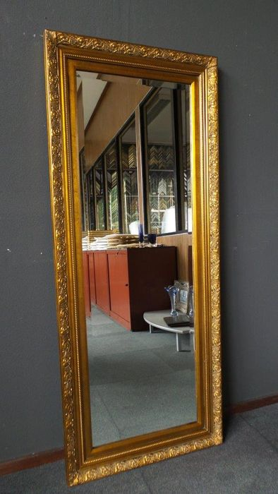 Large full length mirror with facet cut glass - hand-gilded frame ...