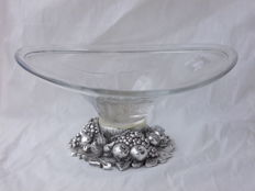 Crystal centrepiece with deep relief assorted fruit silver plate base - 1960