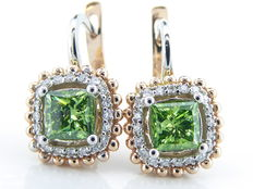 14 karat gold Ear studs set with fancy intense olive green colour diamonds & diamonds, 1.60 ct in total