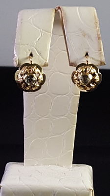Gold earrings (18 kt white / yellow) with central zirconia – 2 cm