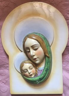 Madonna with Child, airbrushed majolica plaque