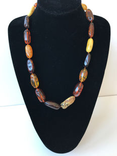 Genuine multi colour beaded Baltic Amber necklace 62 gr.