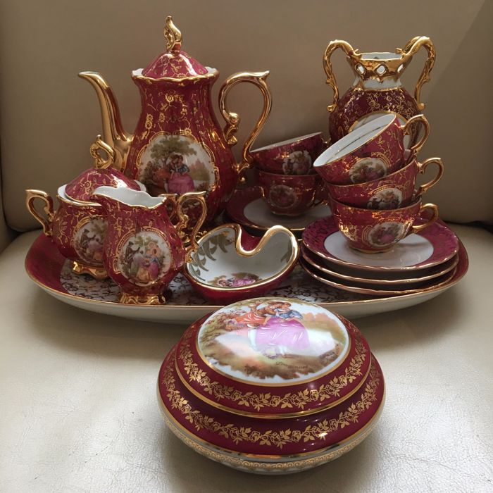 limoges tea set on porcelain tray plus dish and box with lid catawiki. Black Bedroom Furniture Sets. Home Design Ideas
