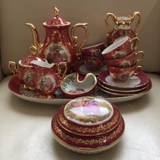 Limoges tea set on porcelain tray, plus dish and box with lid