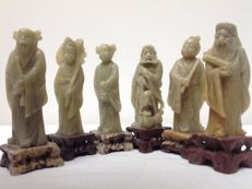Hand-carved soapstone immortals – China – mid 20th century