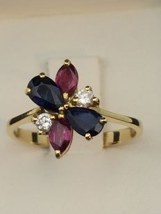 750 gold ring, diamonds, sapphires, rubies. Size 55