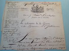 Autograph; top of letter of the Minister of war - 1800