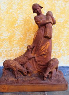 """Calendi"" terracotta sculpture - Female farmer with hay and animals - France, 19th century - Large"