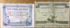 France - lot of n. 2 historical dekò shares of the French stock market (s. Russo-Francaise and Comp Cotonniére des Affréteurs Français) year 1910 and 1924