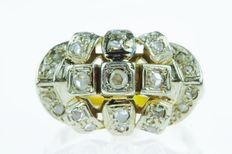 14 karat gold Art Deco women's ring set with diamonds in a white gold setting, ring size 18.5, around 1925