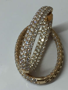 Hoop earrings with 6.66 ct of diamonds - Very low reserve price