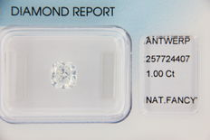 **RARE** Natural diamond, fancy white 1.00 ct – IGI – CUSHION – SEAL