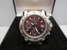 Rare Montblanc chronograph, steel, automatic, ref.  7024, 'Burgundy' dial, WR 200 m