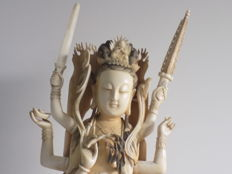 Very large sculpture in ivory of Guan Yin with six arms - signed - 67 cm - China - circa 1900.