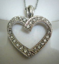 14kt white gold pendant with gold necklace and diamonds 0.80ct - no reserve price