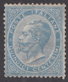 Italy, 1863 – Light blue stamp, 15 cents – Victor Emmanuel – Sassone #L18.