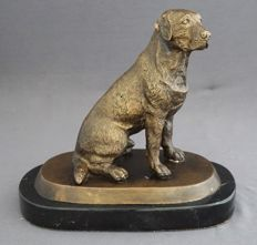 Bronze statue of a seated dog on black marble base