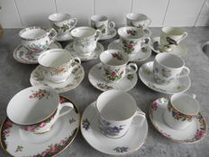 13 different cups and saucers English - Germany - etc.
