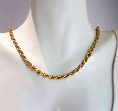 18 kt gold chain, twisted Singapore links - 42 cm