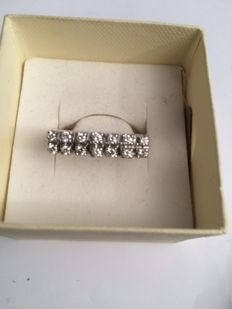 18 kt white gold ring with 0.98 ct diamonds - Size 18