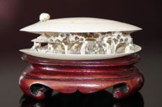Hand-carved Cantonese Ivory Shell on Wooden Pedestal – China – around 1900-1940