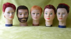 Five old hairdressing heads - in good condition