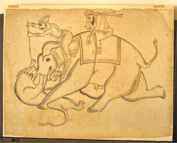 Framed Mughal Black Ink and Colourwash Drawing Elephant & Lion Fight - India - 19th century