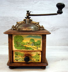 Japy Frères&Cie antique very rare French coffee grinder with hand painted images of landscape Alsace