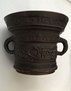 19th century bronze mortar with pestle, dated 1638