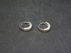 18 kt white gold earrings with diamonds 0.05ct - diametre 15mm