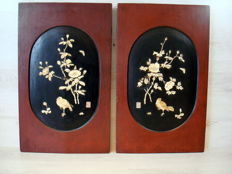Set of two wooden panels, inlaid with bone – Japan – first half of the 20th century