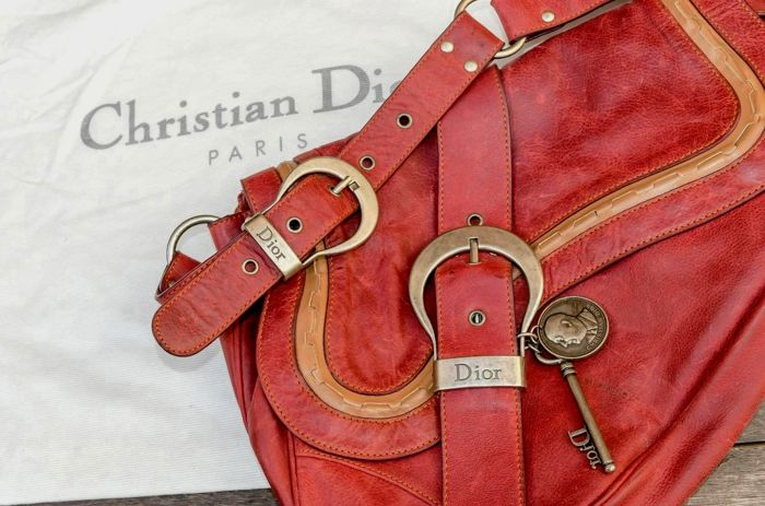 Christian Dior - Gaucho Double Saddle Bag - leather - Bordeaux ... e30837c767e9b