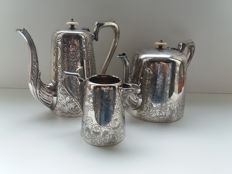 Antique silver plated coffee pot and milk jug JH Potter Shieffeld