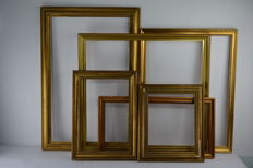 Six gilded wood frames - various sized - Italy, 19th / 20th century
