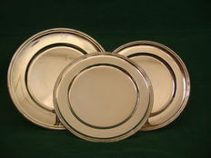 3 Silver Plated Flat Dish, England, ca. 1930