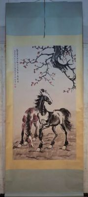 Hand painted scroll painting - china - late 20th century