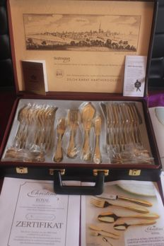 "Very Elegant Fish Cutlery - SBS - Solingen - 38 pieces, fully gold-plated, 23/24 carat, mint condition, like new, ""Christina Royal"" Model, Art Nouveau"