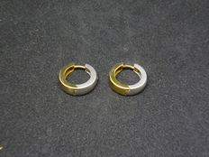18k duo-colored earrings rings with diamonds 0.05ct - diametre 15mm